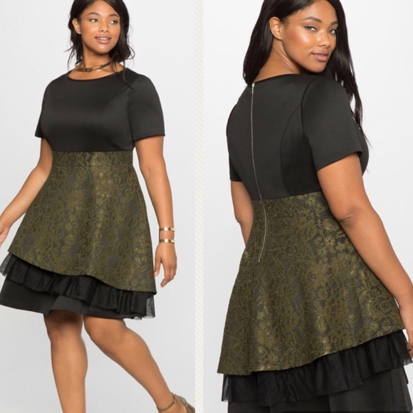 e74c89f3fd601 Eloquii   dress green lace black plus size 16